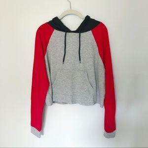 Tops - Color block cropped hoodie